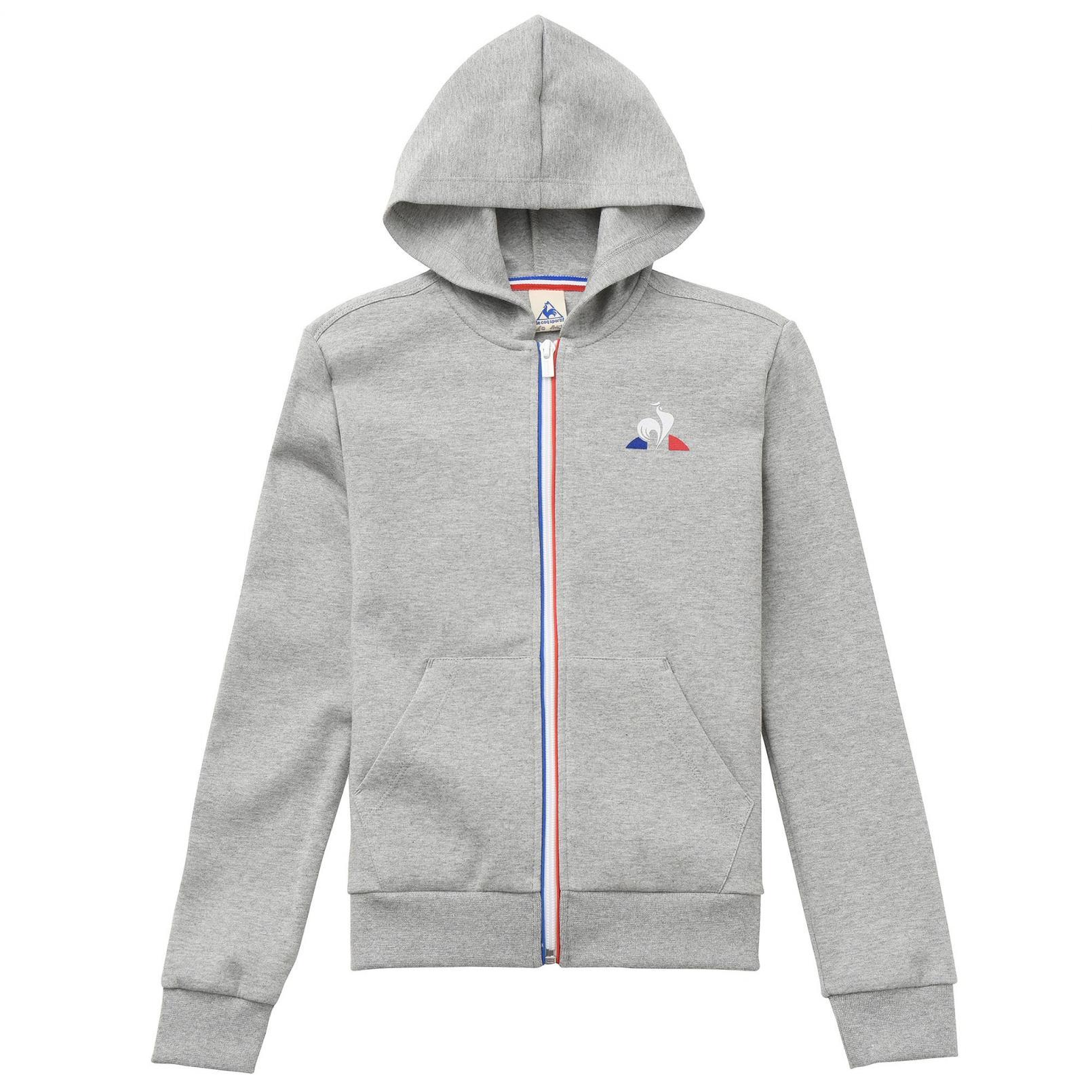 Kids Apparel – Le Coq Sportif Essentiels Full zip hood Grey