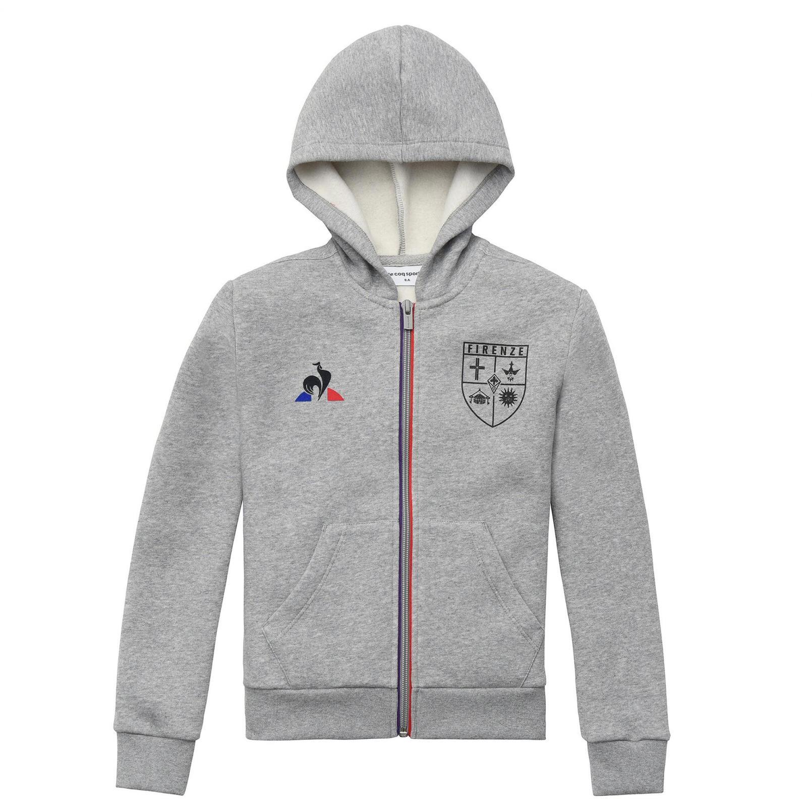 Kids Apparel – Le Coq Sportif Fiorentina Fanwear Full zip hood Grey