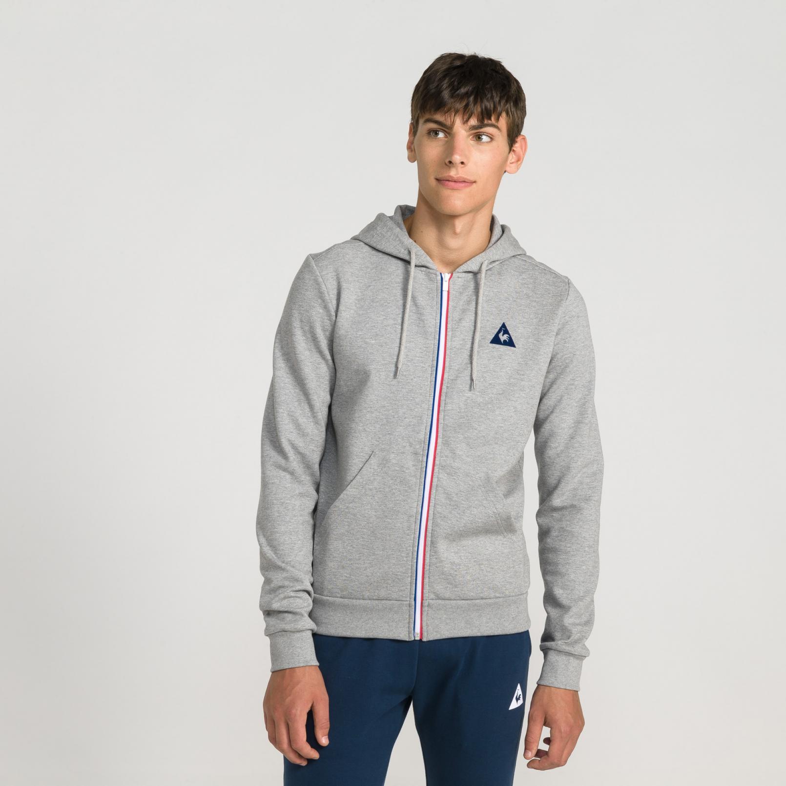 Sweat tops – Le Coq Sportif Essentiels Full zip hood Grey